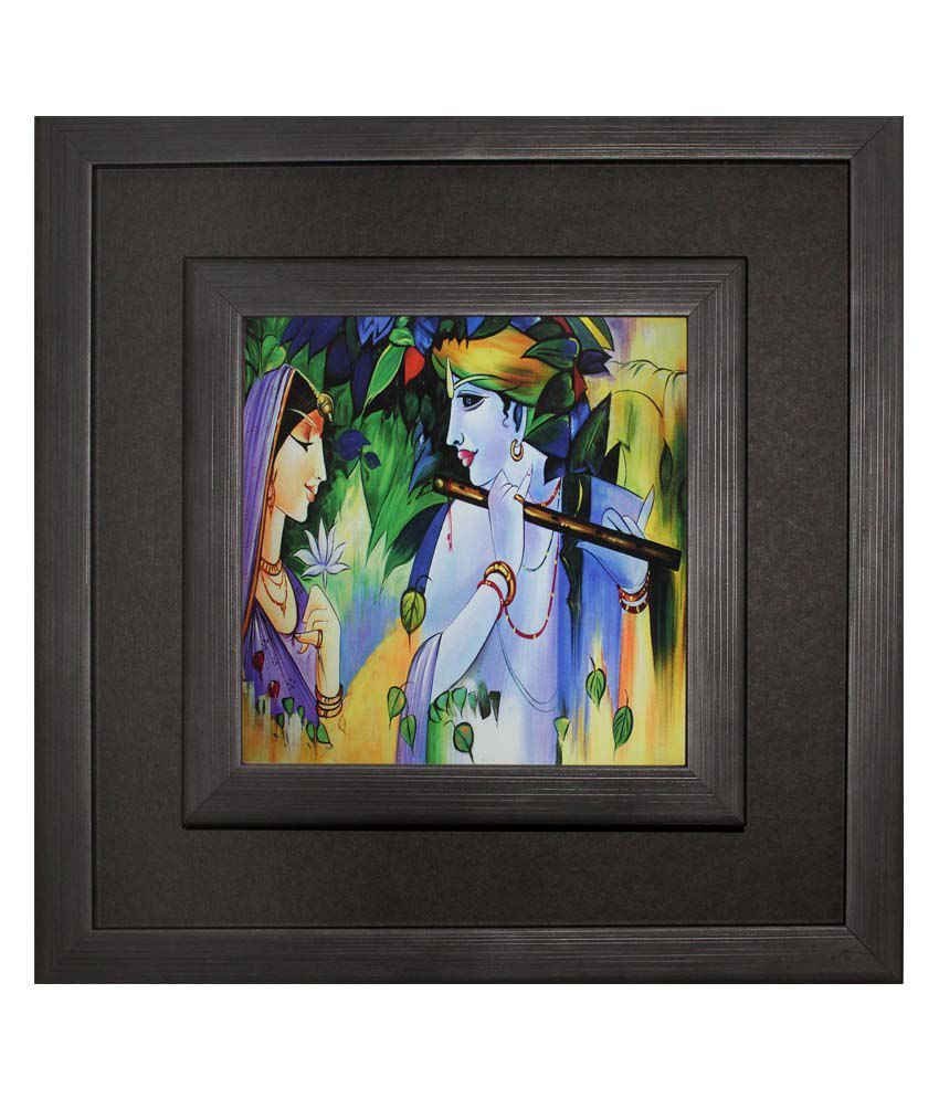 SAF Black Wooden Frame Abstract Painting