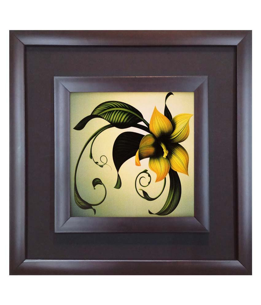SAF Black Wooden Frame Floral Painting