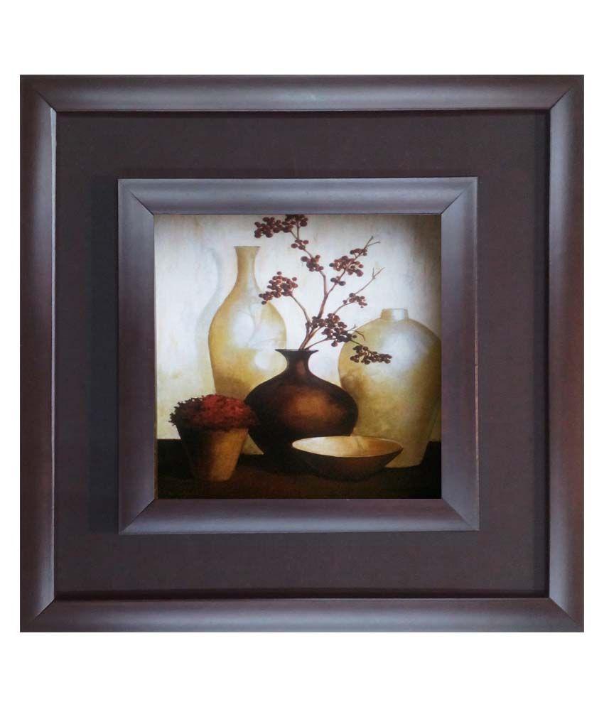 SAF Black Wooden Frame Floral Painting