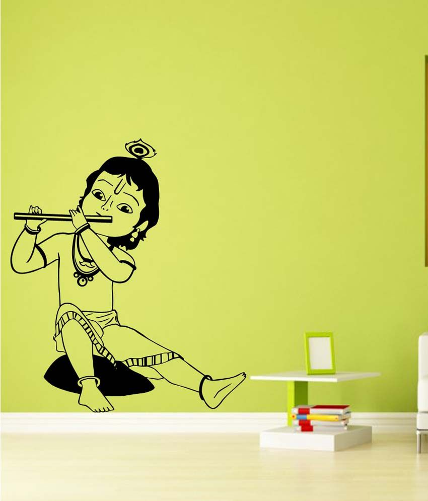 Trends On Wall Black Pvc Little Krishna Wall Sticker - Buy Trends On ...
