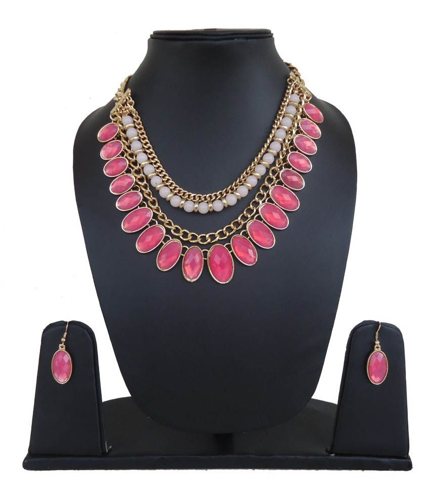 Charu Fashions Pink Contemporary Necklace Set