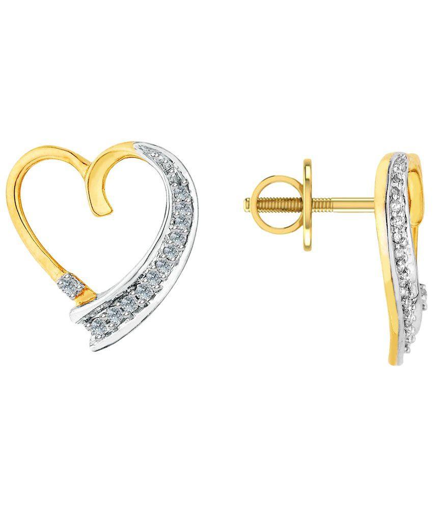 Asmi 18 Kt Gold & Diamond Hearts Stud Earrings