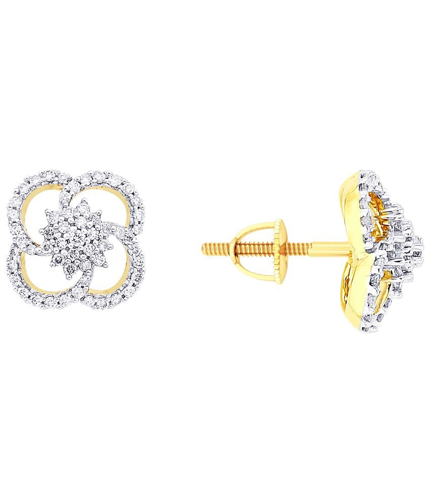 Asmi 18 Kt Gold & Diamond Floral Stud Earrings