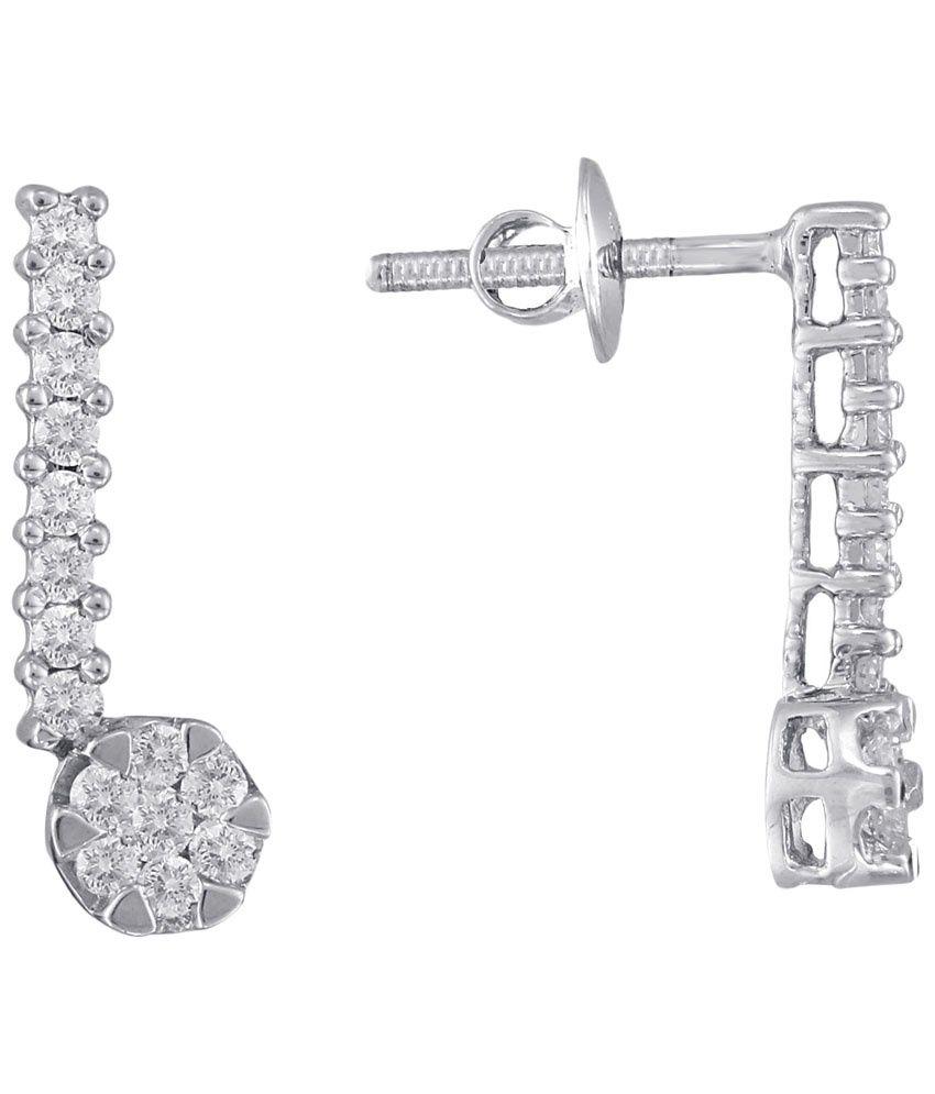 D'damas 18 Kt White Gold & Diamond Contemporary Drop Earrings