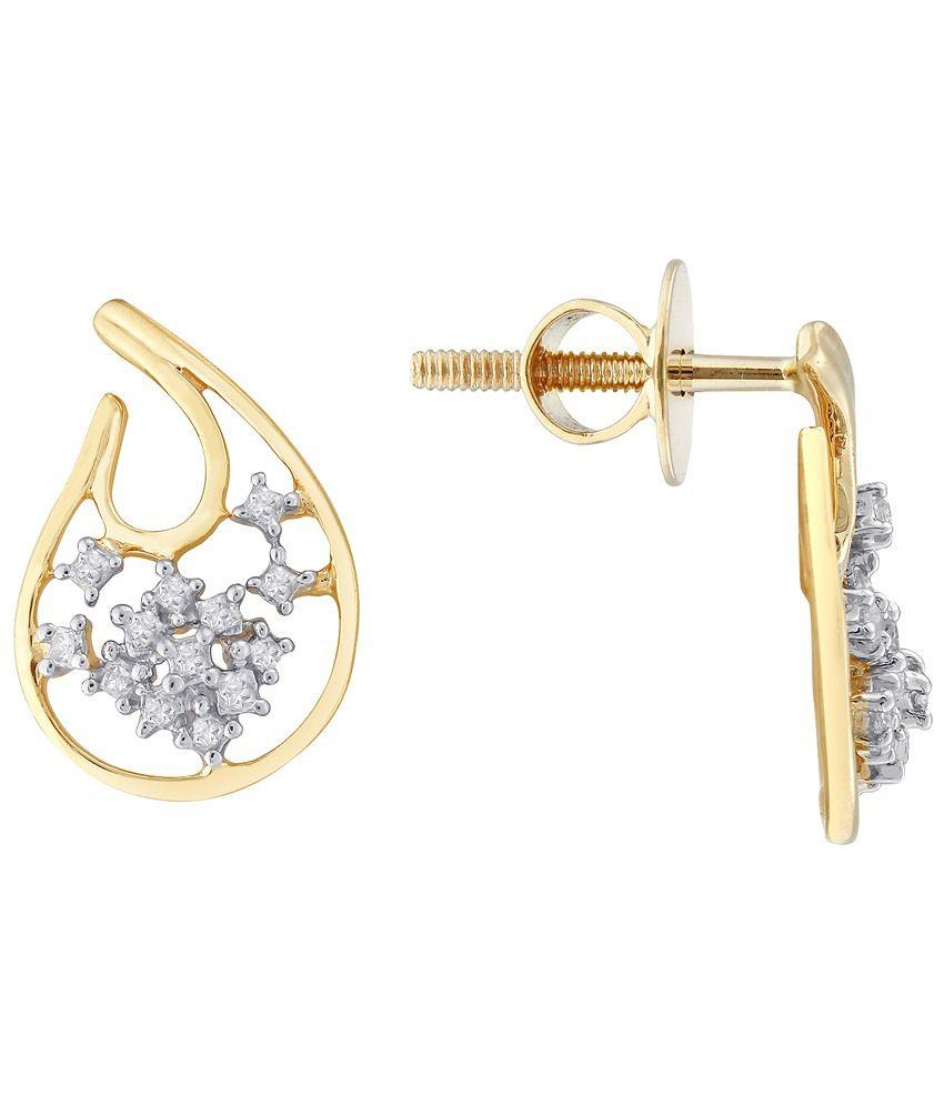 G'Divas 18 Kt Gold & Diamond Floral Stud Earrings