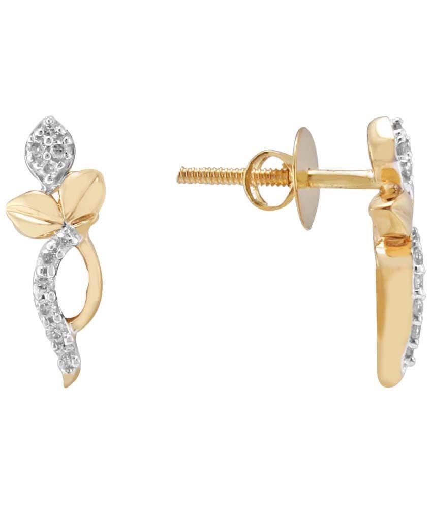 Nirvana 18 Kt Gold & Diamond Floral Stud Earrings