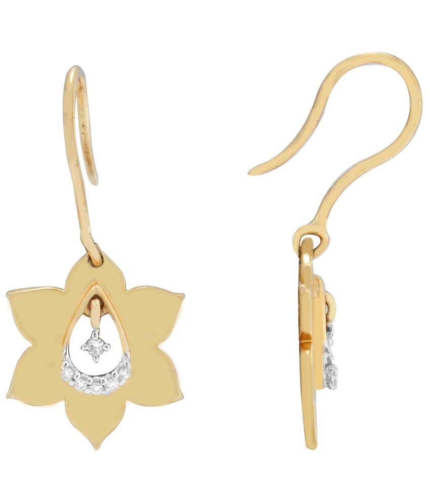 Parineeta 18 Kt Gold & Diamond Floral Drop Earrings