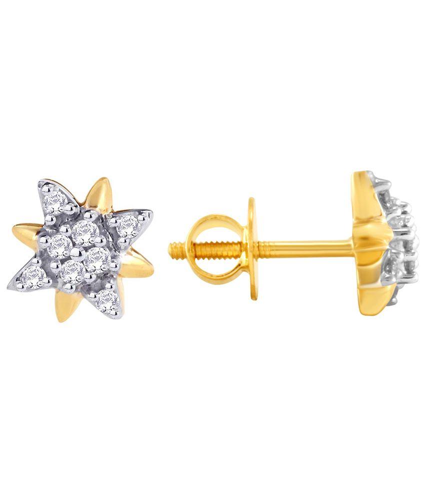 Sangini 18 Kt Gold & Diamond Floral Stud Earrings
