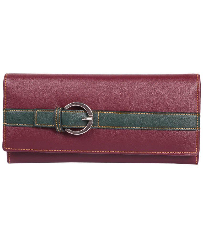 Lee Italian Maroon & Green Button Wallet for Women