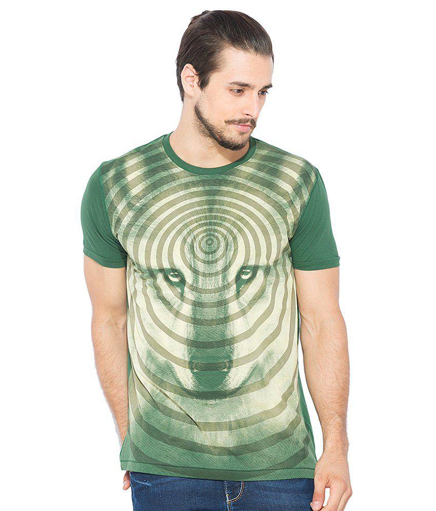 Status Quo Green Printed Round Neck T Shirt