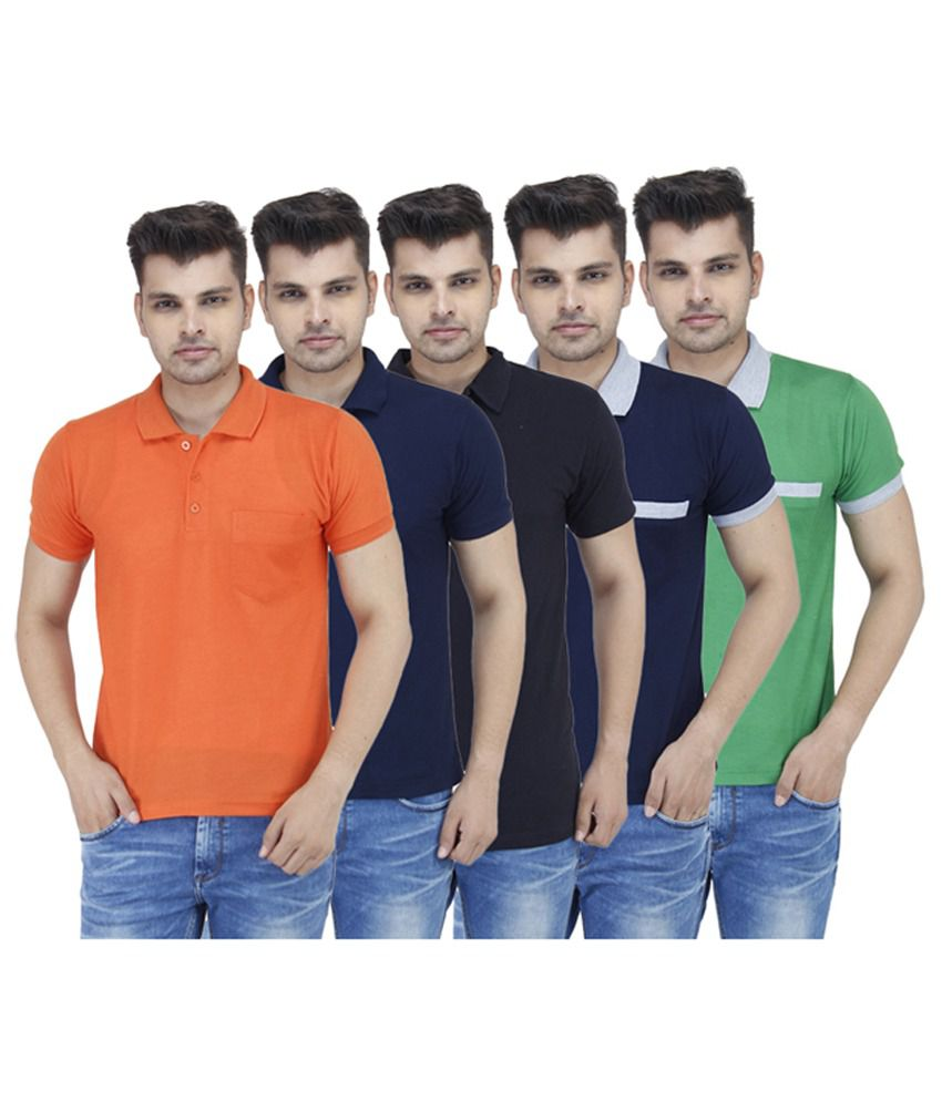 Stylogue Cotton Blend Solid Polo & Printed Round Neck T-Shirt (Combo of 5)