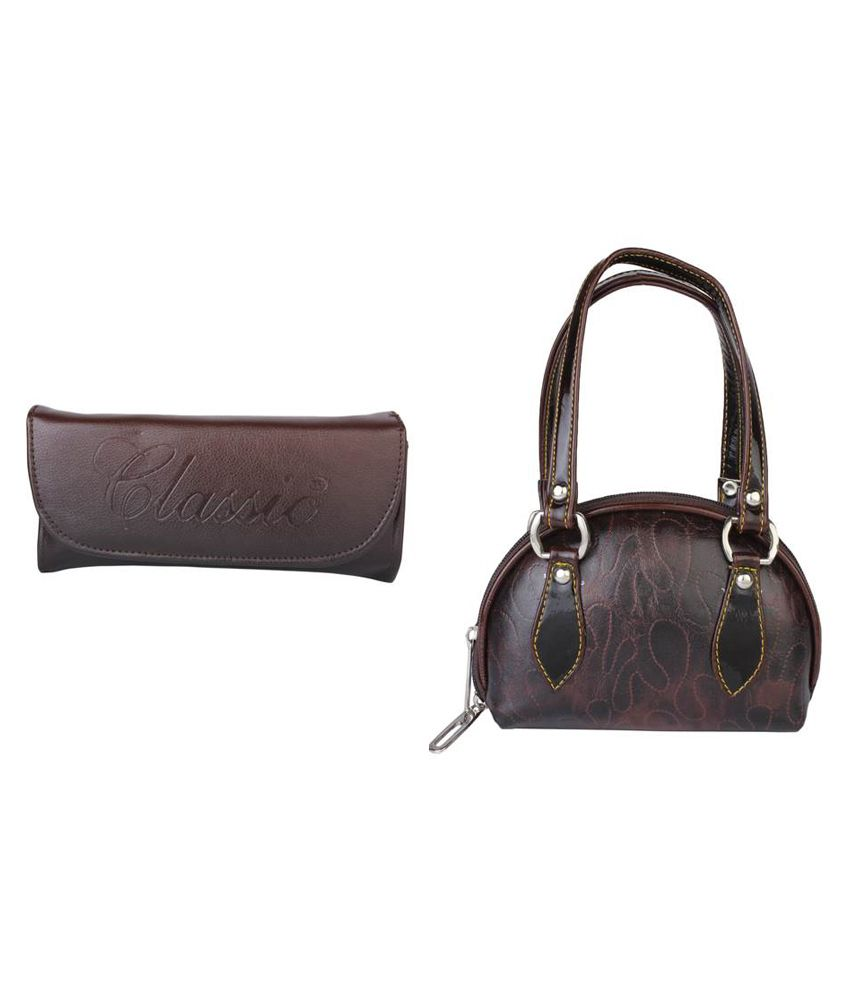 Classic Brown Clutch And Wallet Combo
