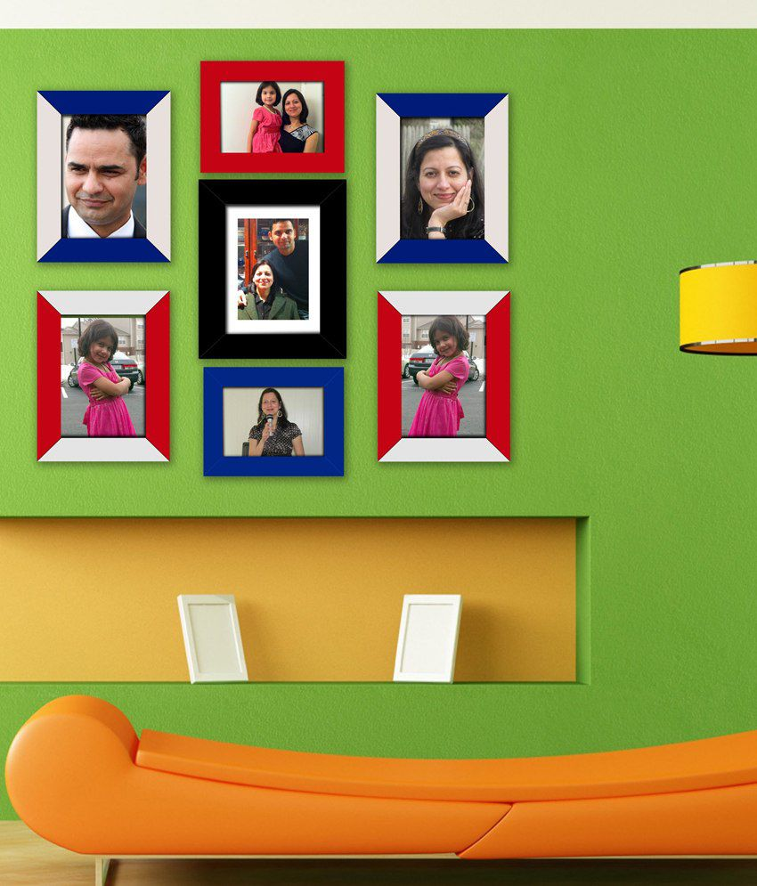 Tiedribbons Matte Glass Wall Hanging Photo Frame - Set Of 7