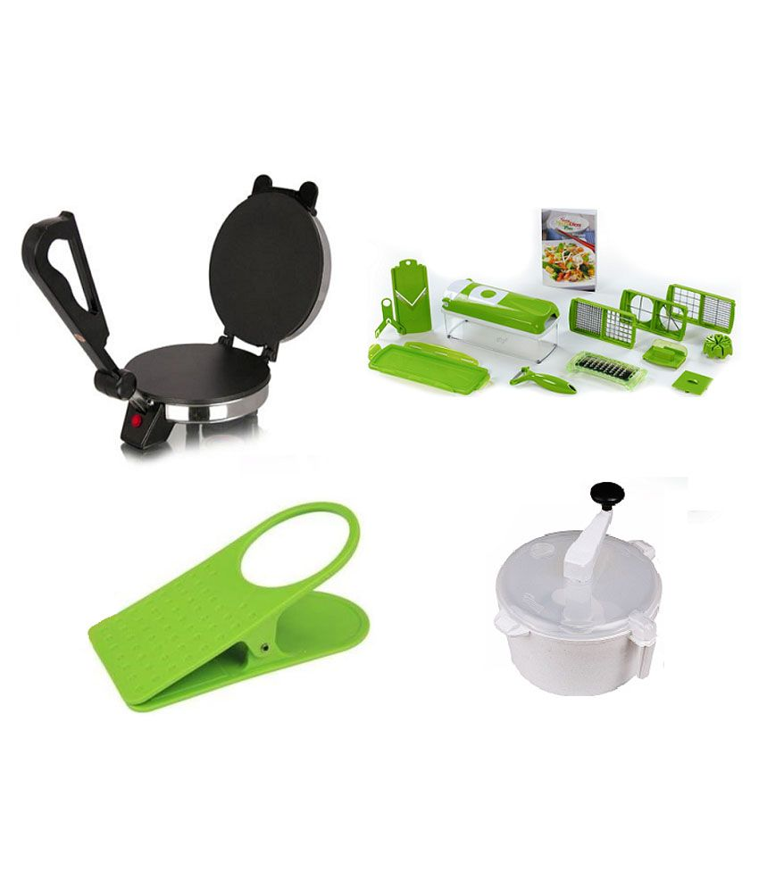 Tulsi Combo Of Roti Maker with Nicer Dicer, Dough Maker and Clip Holder