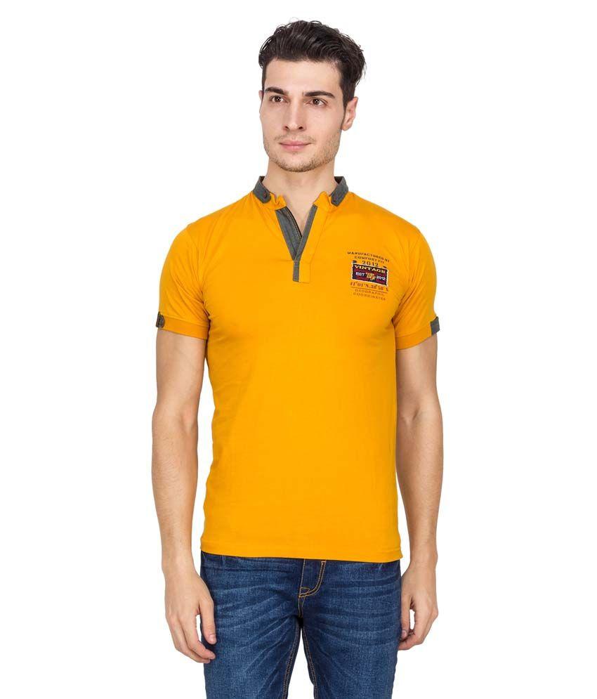 V9 Yellow Half Sleeves Basic Henley