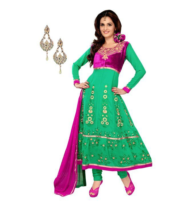 Fabdeal combo of green and pink pure georgette dress - Combination of green and pink ...