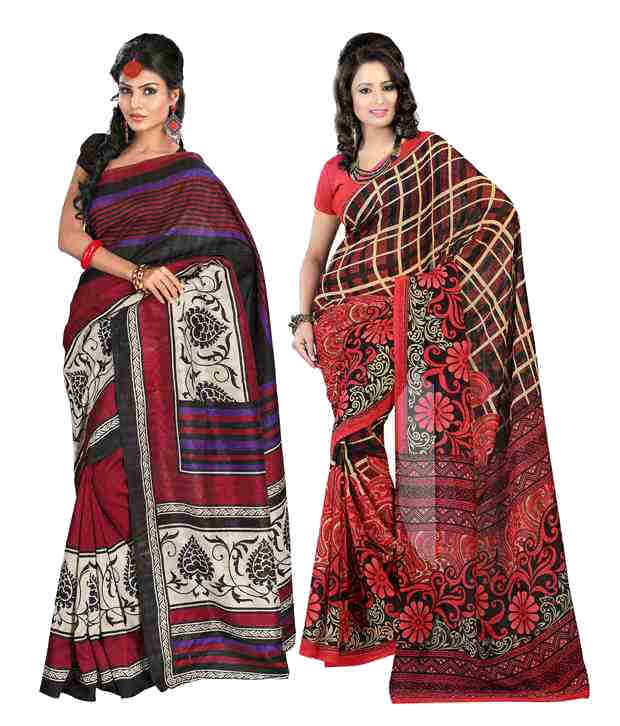 Fabdeal Combo of Red and Black Faux Georgette Sarees