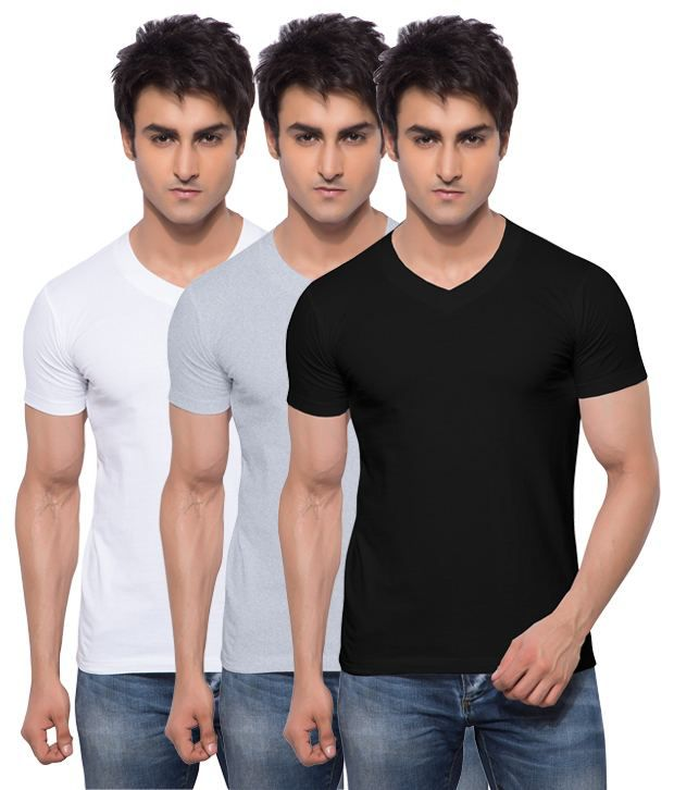 Hbhwear Multicolour Cotton T-shirt - Pack Of 3