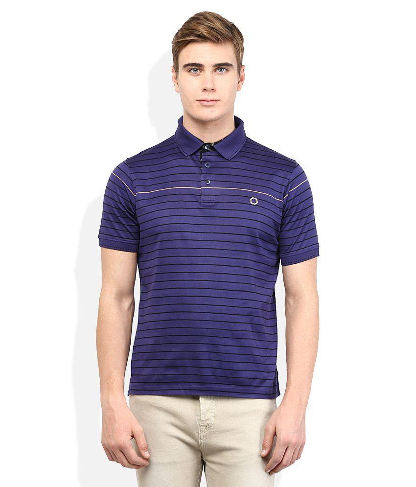 Proline Blue Striped Polo T Shirt