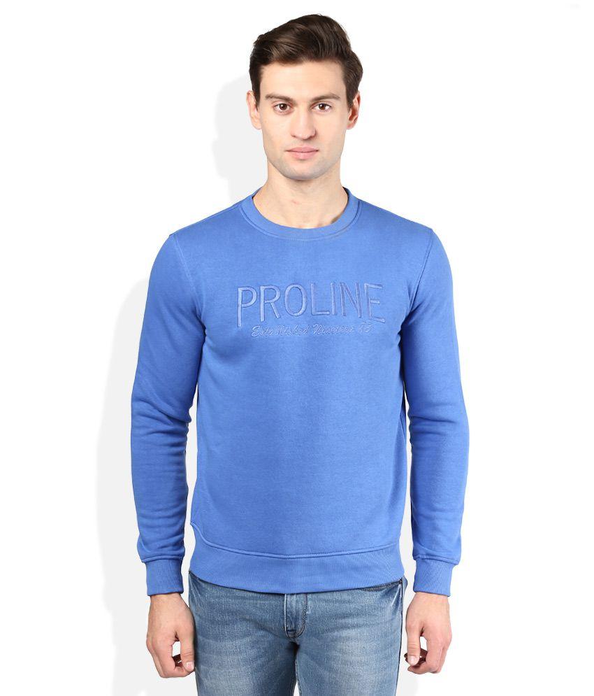 Proline Blue Solid Sweatshirt