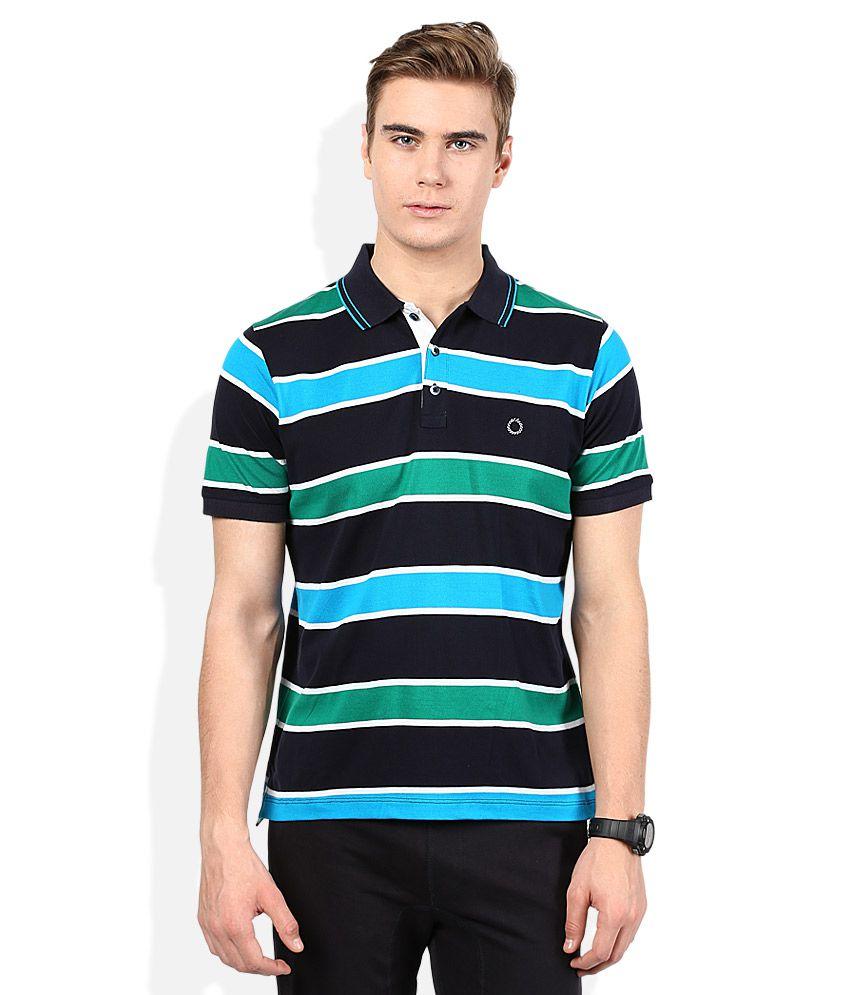 Proline Multicoloured Striped Polo T Shirt