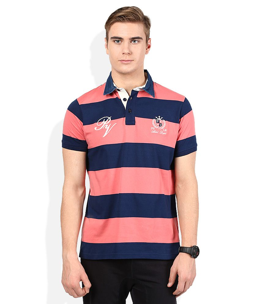 Proline Pink Striped Polo T Shirt