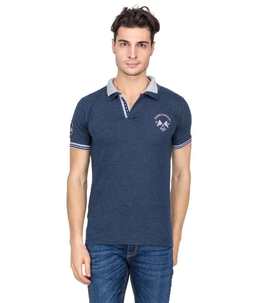 V9 Blue Half Basics Polo T-shirt