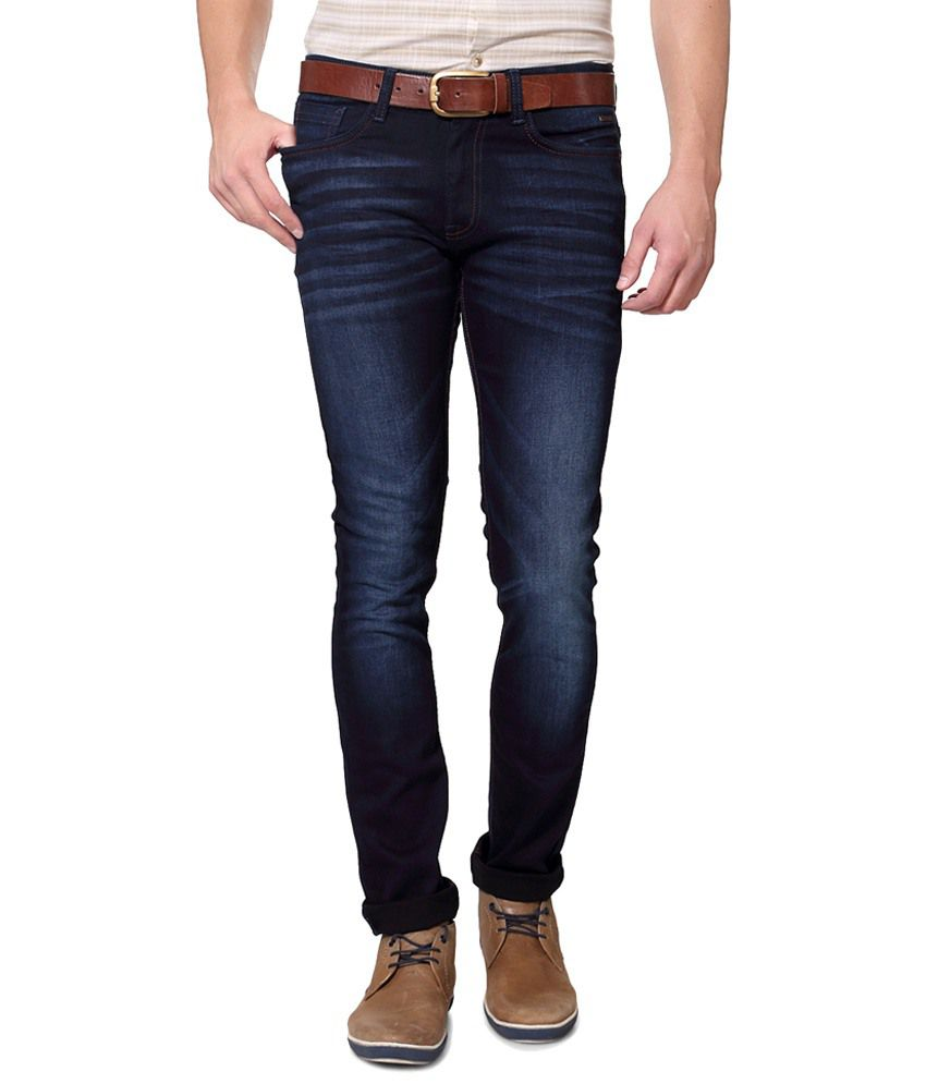 Van Heusen Navy Blue Party Wear Stretchable Jeans