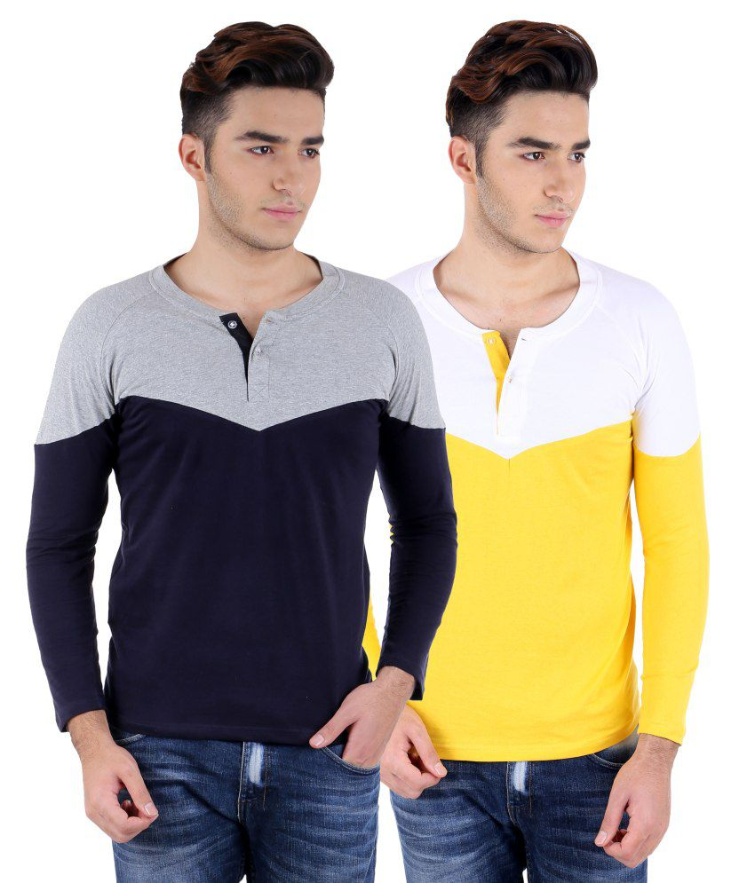 Big Idea Gry-nvy & Wht-ylw  Henley T-shirts Pack Of 2