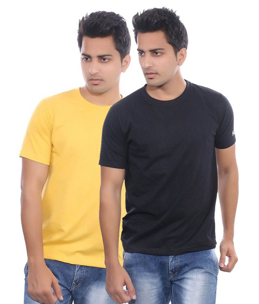 Fabilano Yellow And Black Cotton T-shirt - Pack Of 2
