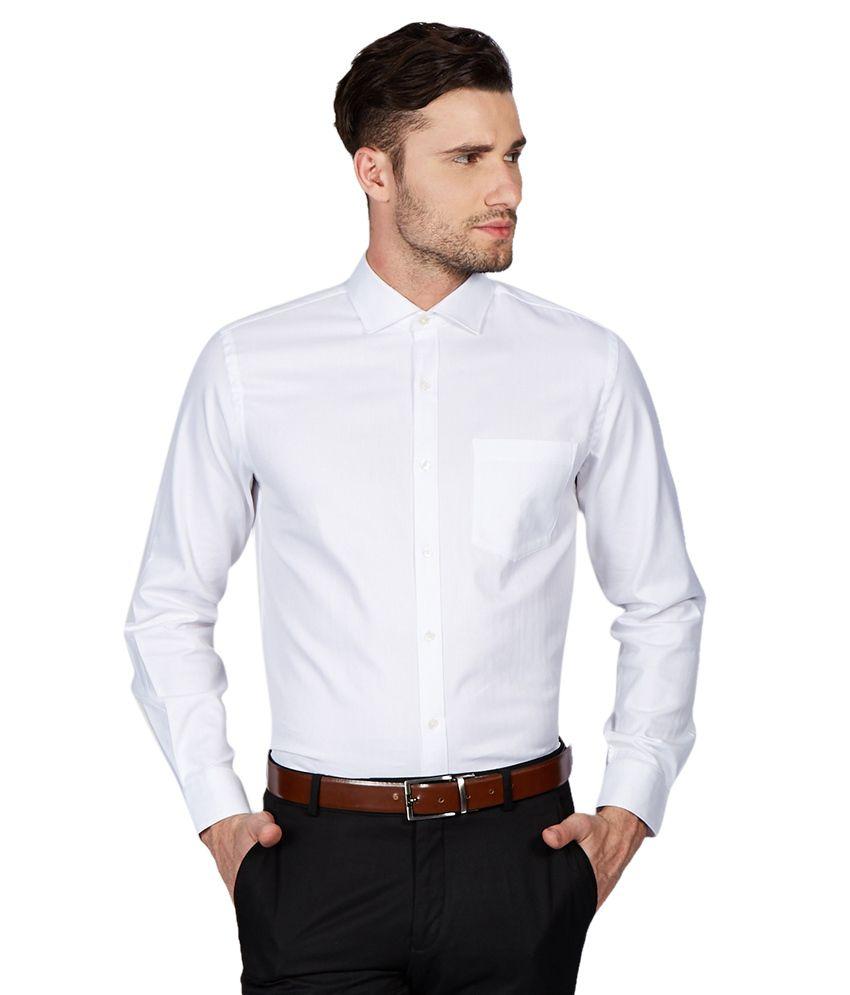 Black coffee white slim fit formal shirt buy black for Trim fit tuxedo shirt