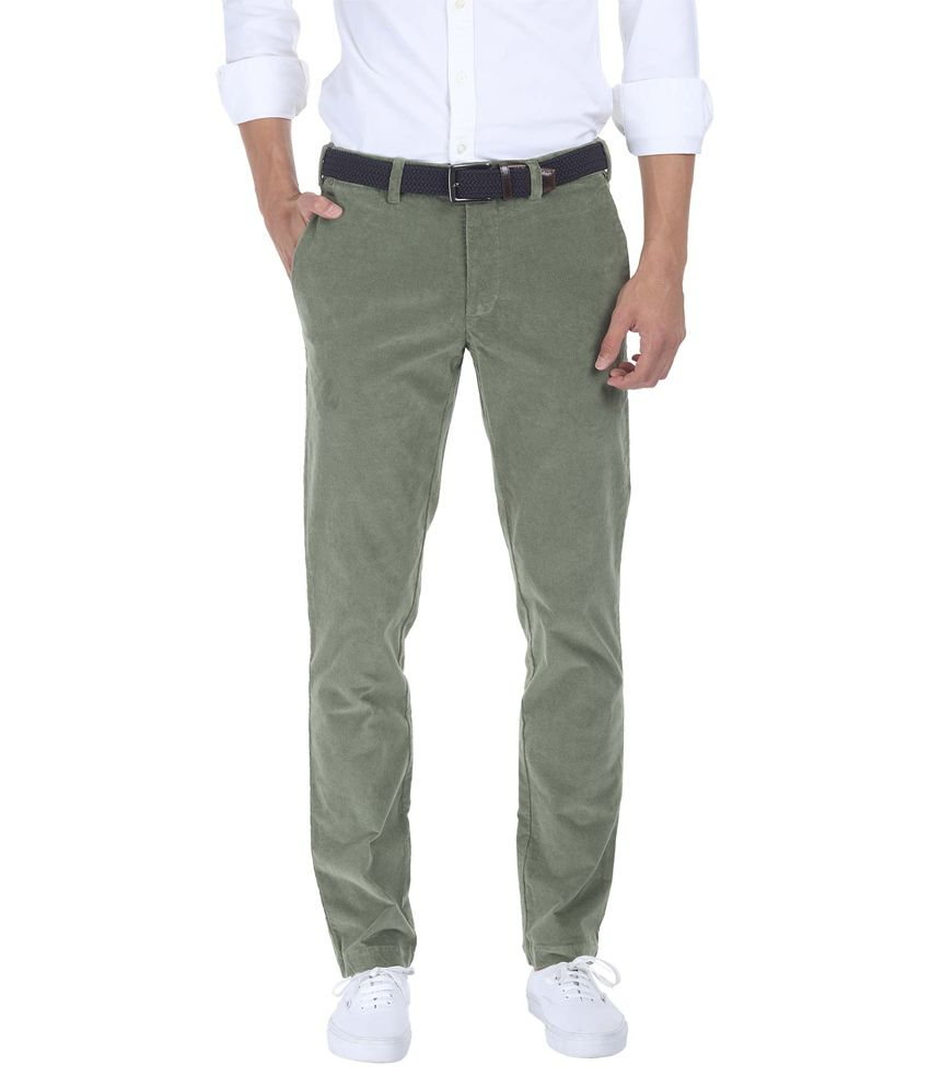 Zobello Green Slim Fit Casual Wear Chinos