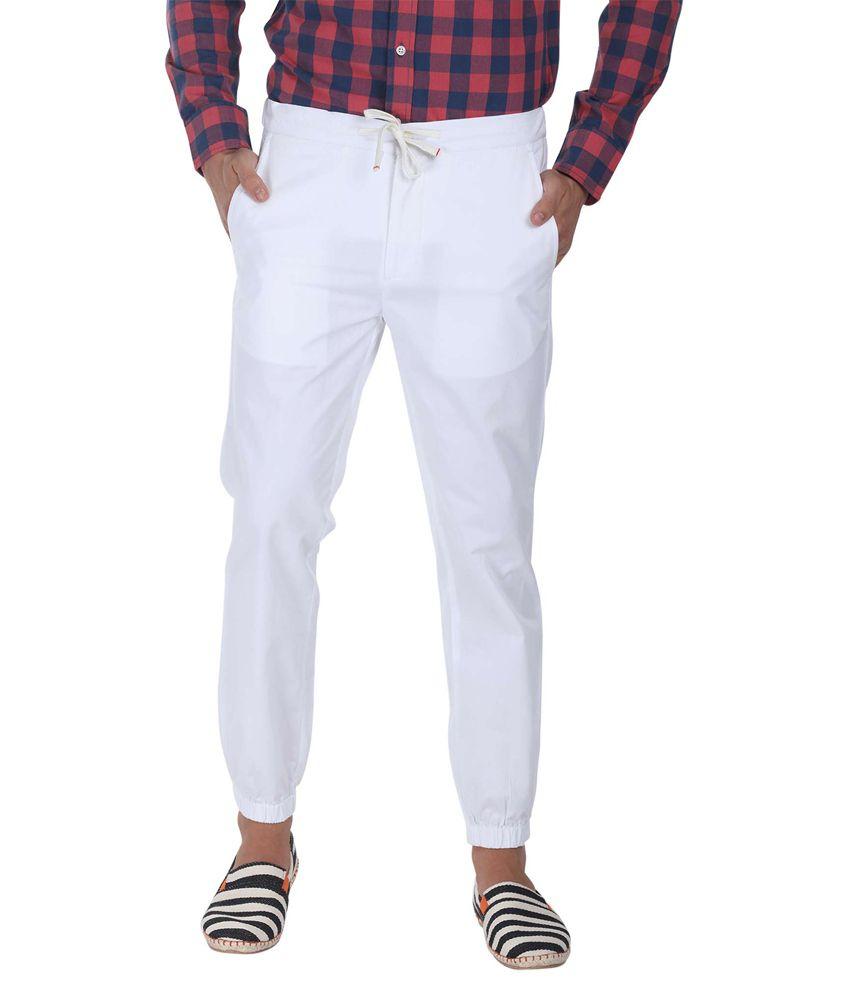 Zobello White Slim Fit Casual Wear Chinos