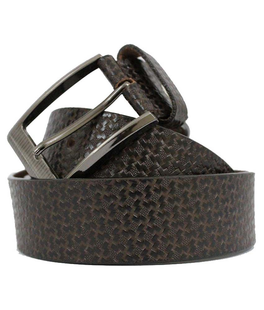 Zuby Brown Leather Belt For Men