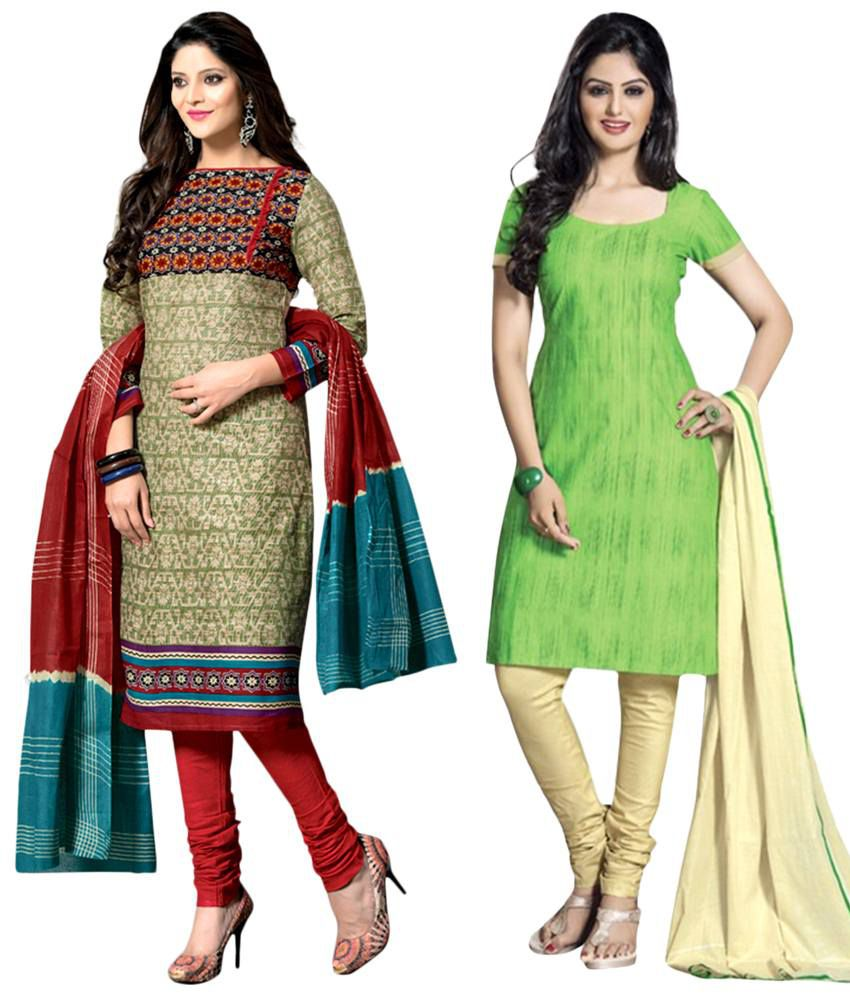 Drapes Pack of 2 Multicoloured Unstitched Dress Material with Dupatta