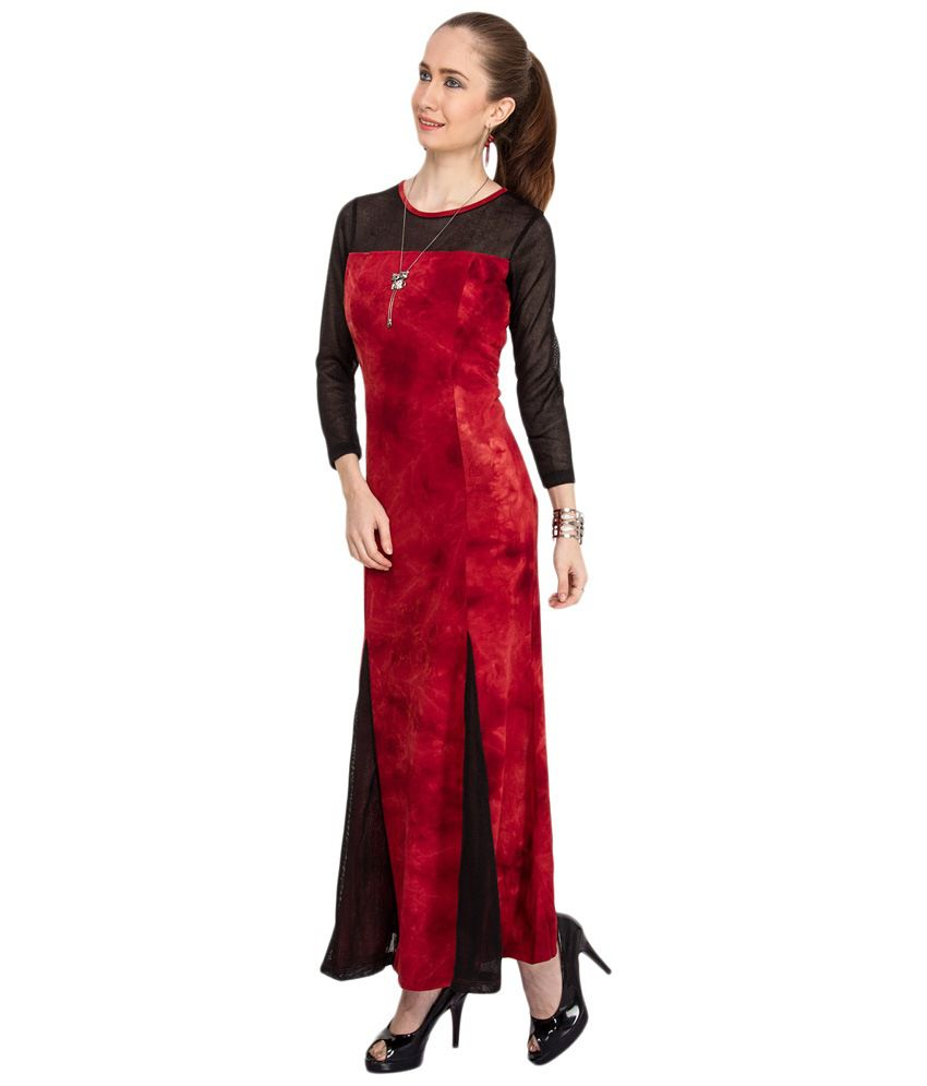 4e629fe66 Kaxiaa Red   Black Party Wear Maxi Dress - Buy Kaxiaa Red   Black ...