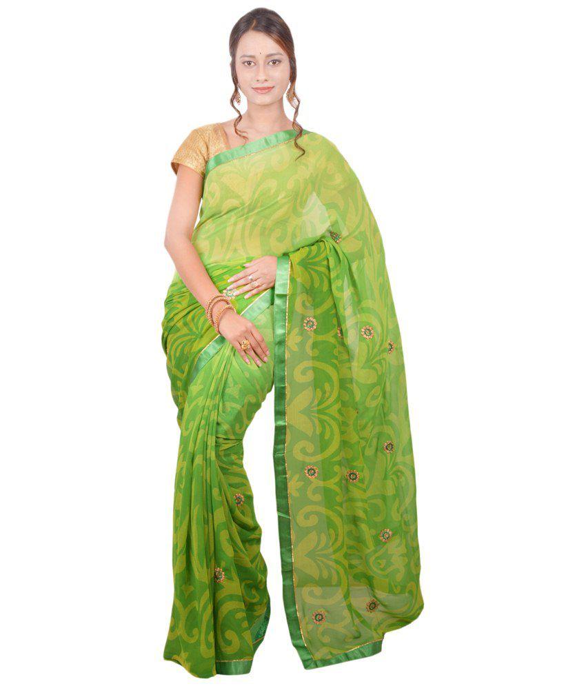 Lalji Sarees Green Printed Pure Chiffon Saree with Blouse Piece
