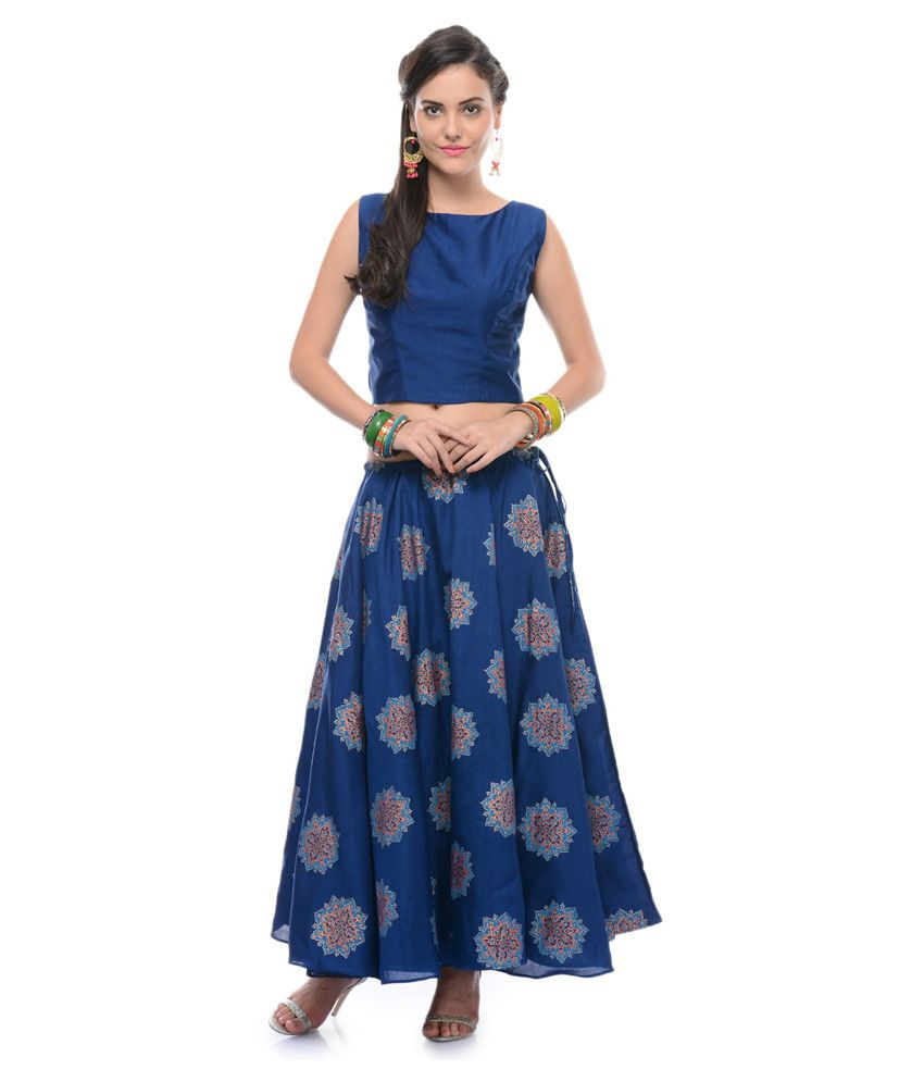 Buy Nika Blue Poly Silk Maxi Skirt Online at Best Prices in India ...