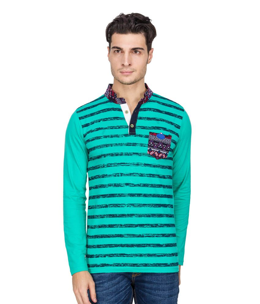 One Way Green Cotton Blend Full Sleeves Basic Polo T-shirt