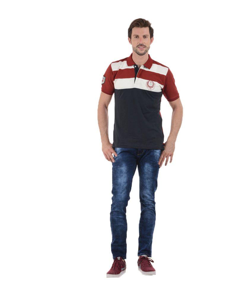 Tmo Maroon Half Sleeves Stripers Wear Polo T-shirt