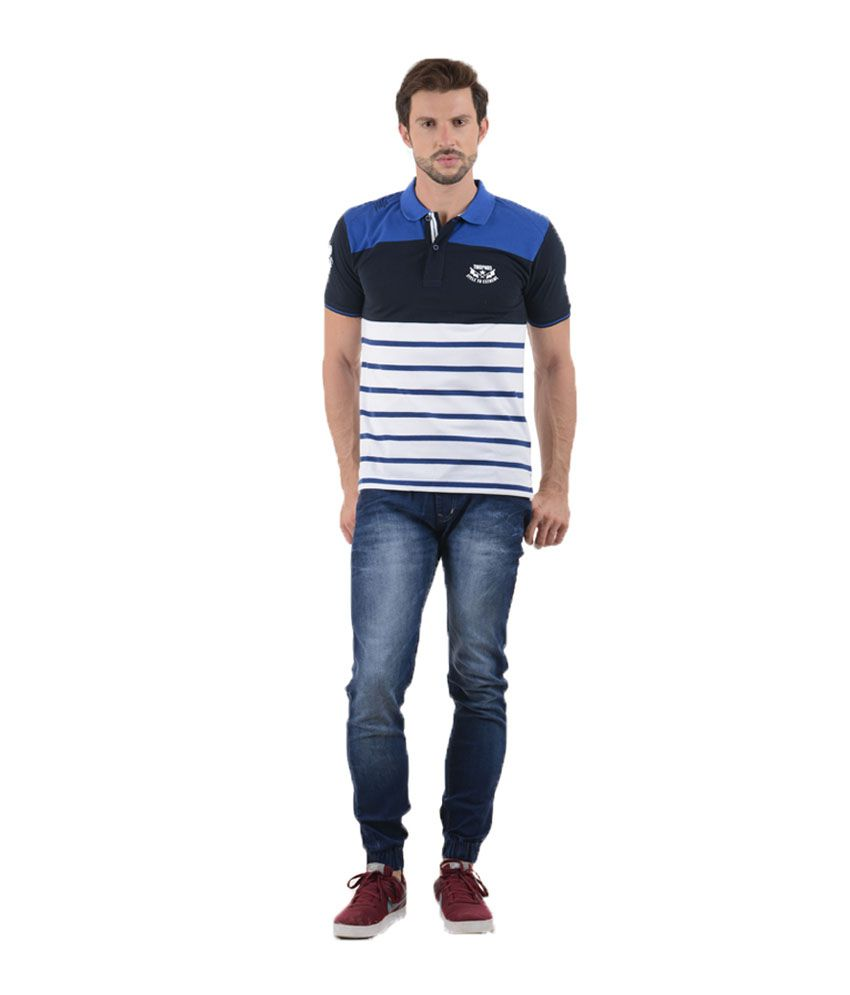 Tmo Multicolor Half Sleeves Stripers Wear Polo T-shirt