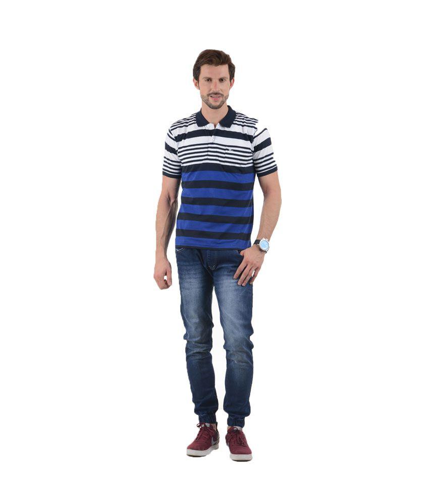 Tmo Multicolor Half Sleeves Stripers Wear Polo T-shirt