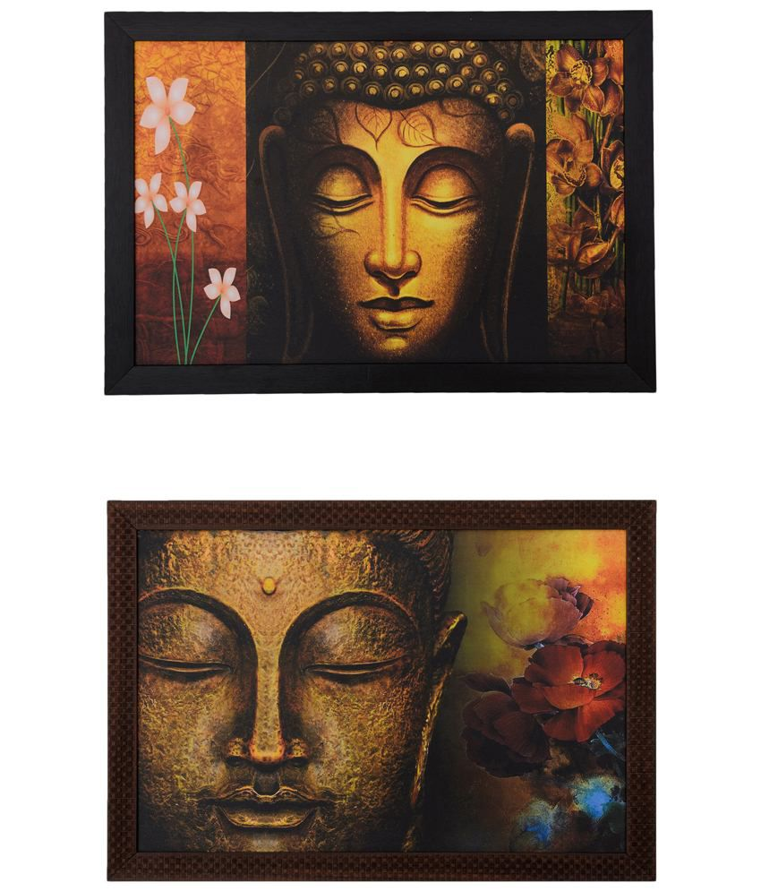 eCraftIndia Brown & Yellow Pack of 2 Framed UV Art Print Paintings