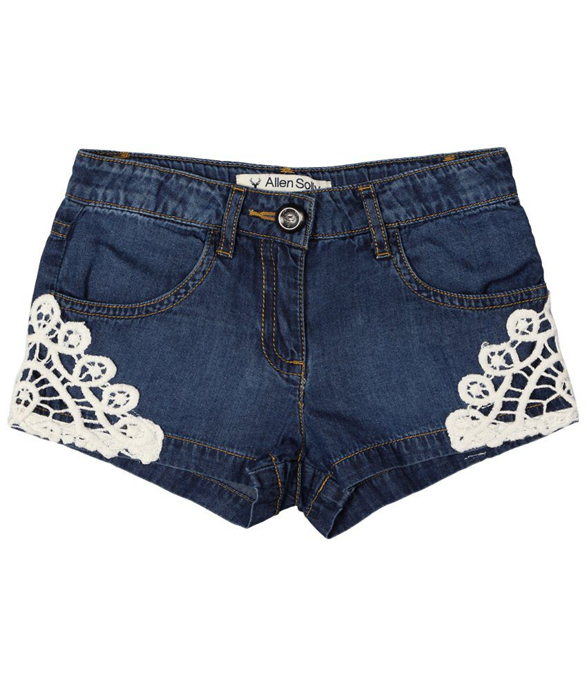 Allen Solly Blue & White Lace Pattern Shorts