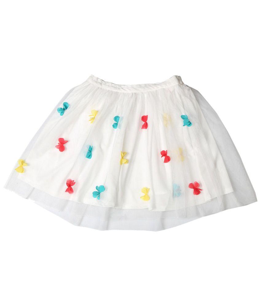 Allen Solly White & Yellow Applique Skirt