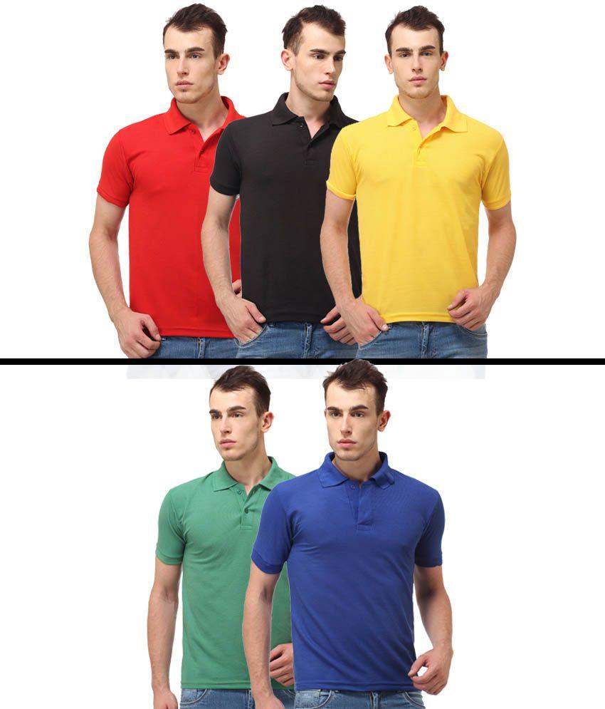 Shopperstreet Multicolour Cotton Blend Polo T-Shirt Pack Of 5