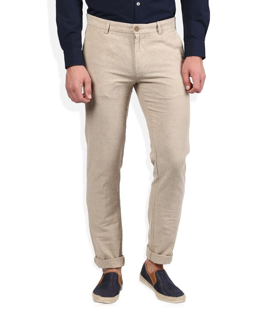 United Colors of Benetton Beige Solid Flat Front Trousers