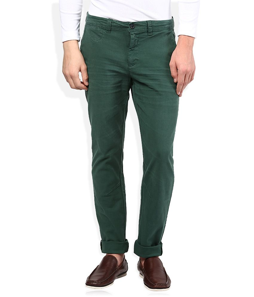 United Colors Of Benetton Green Slim Fit Trousers