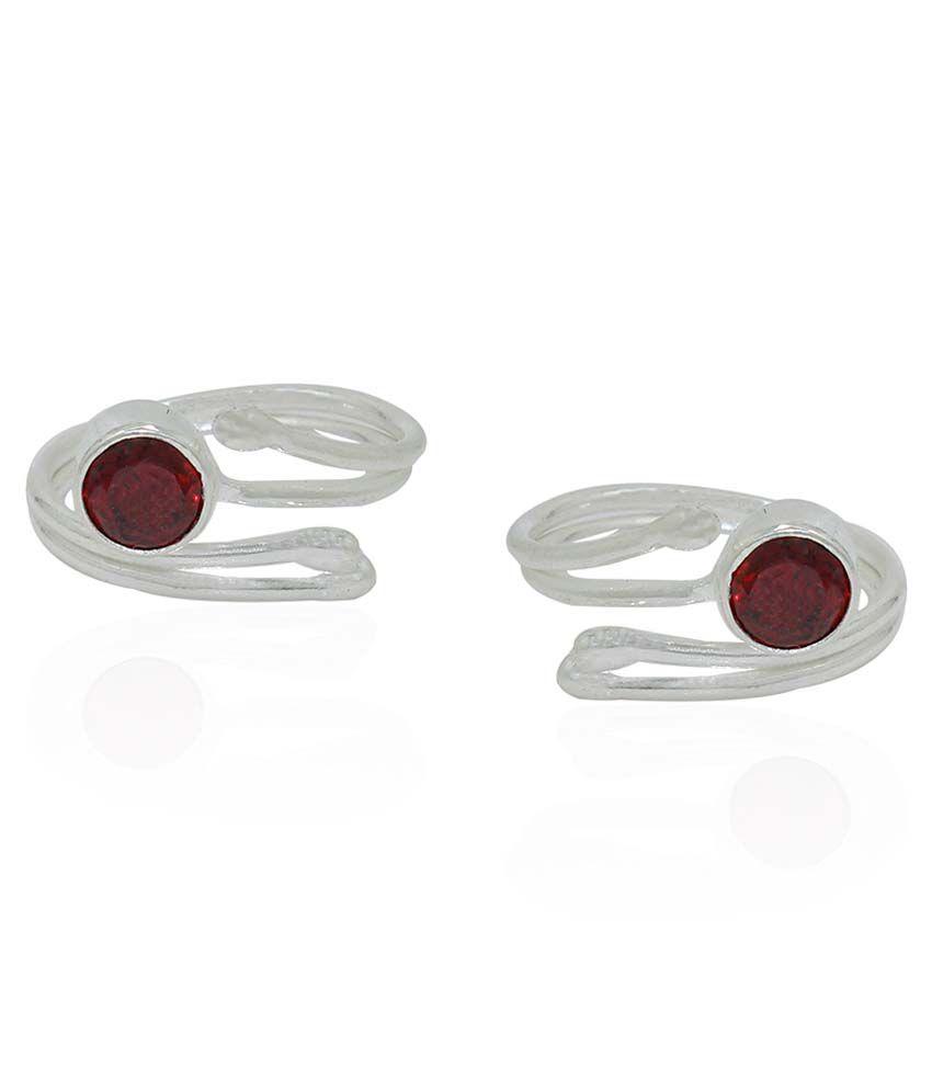 Frabjous Red German Silver Toe Rings - Set Of 2