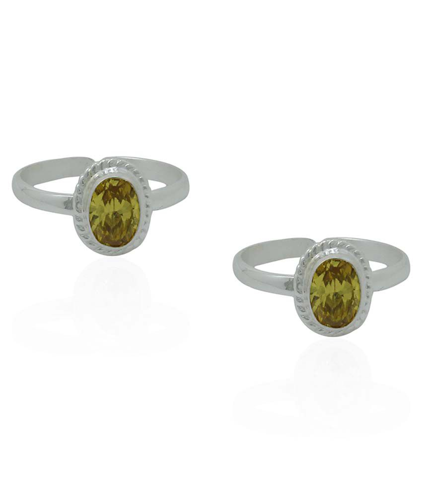 Frabjous Yellow German Silver Toe Rings - Set Of 2